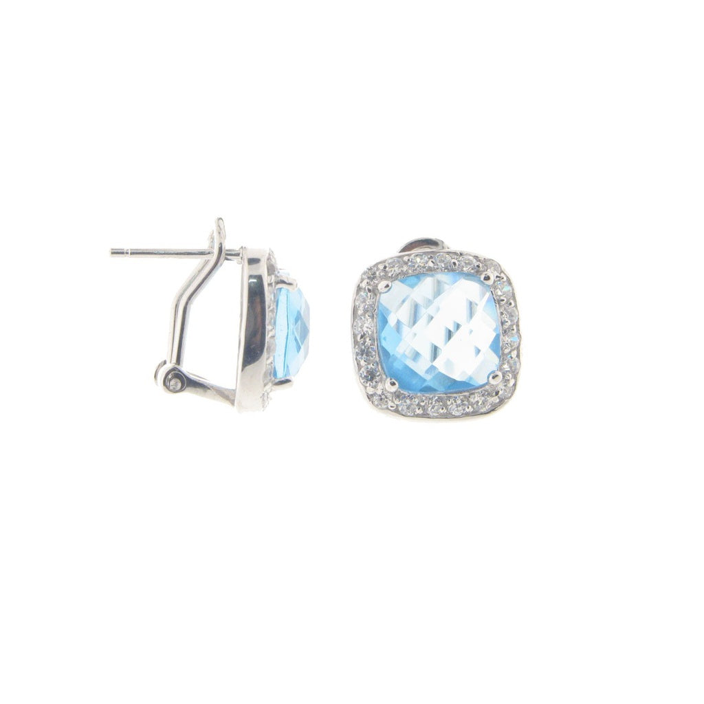 Blue & White Cubic Zirconia Omega Clasp Earrings
