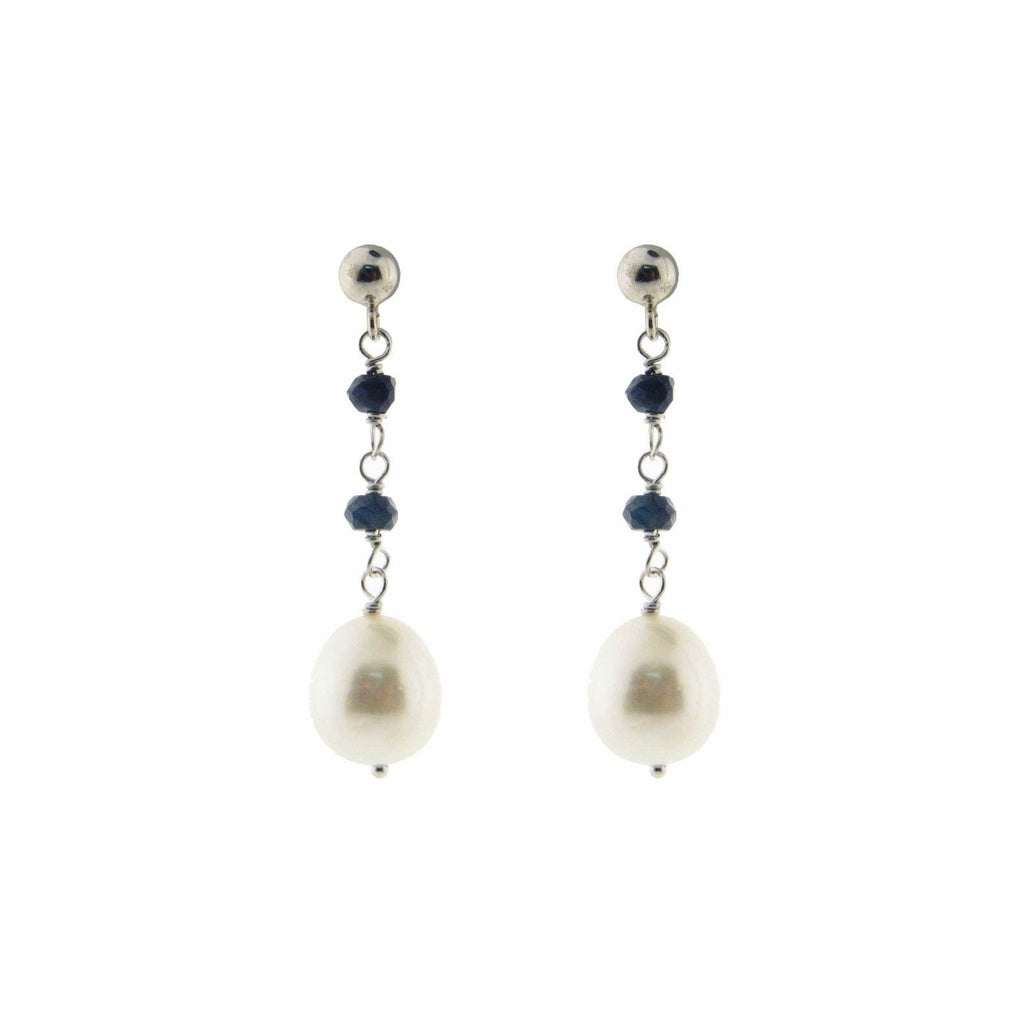 Sterling Silver Fresh Water Pearl and Black Spinel Drop Earrings