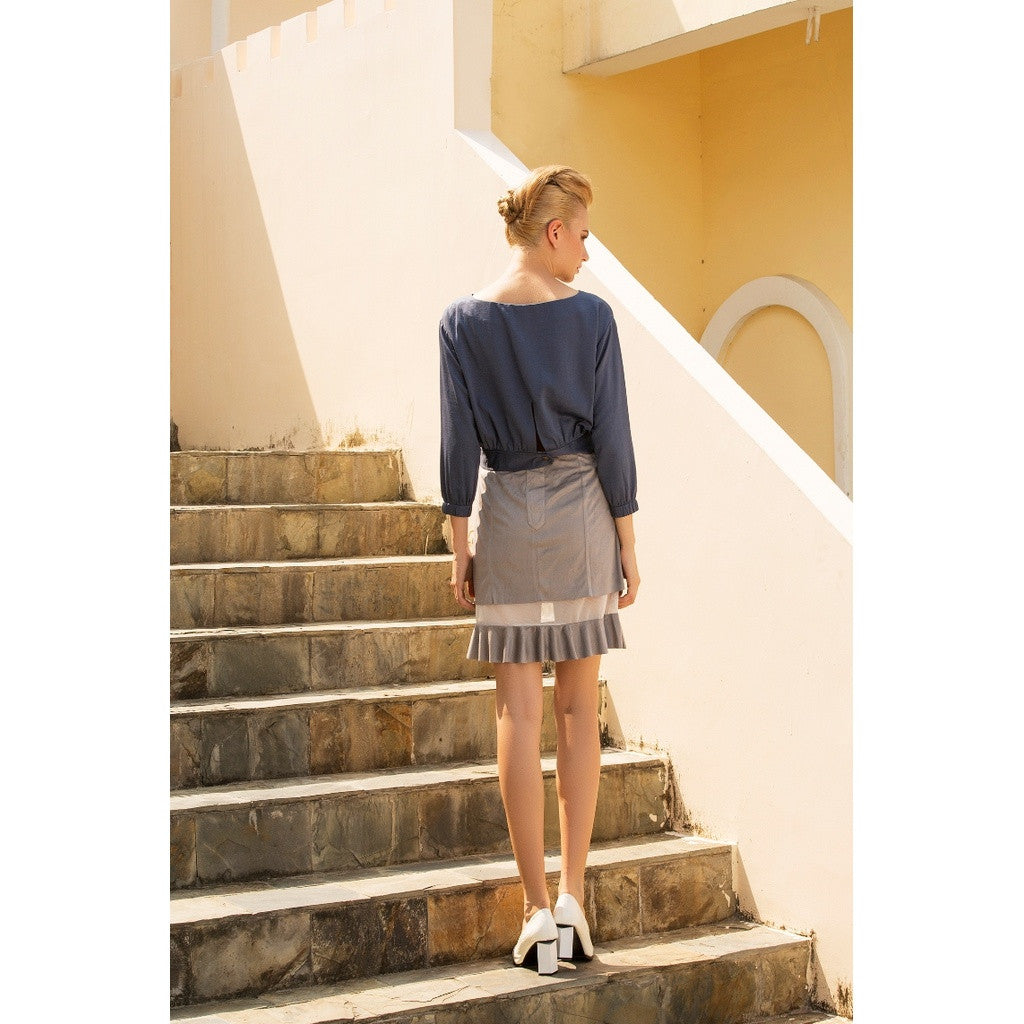 Tea break faux suede mesh skirt