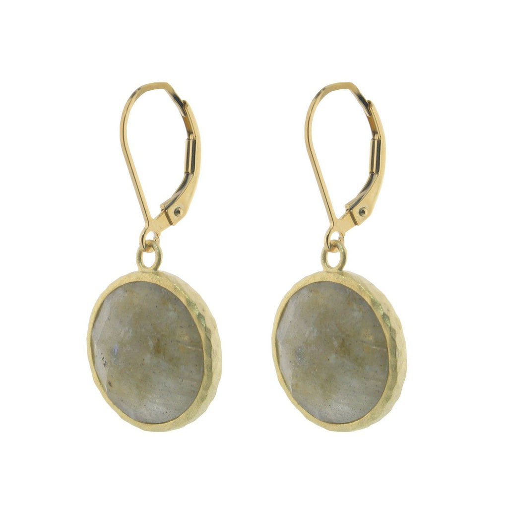 Grey Labradorite Dangling Silver Vermeil Earrings Round Natural Stones 15mm