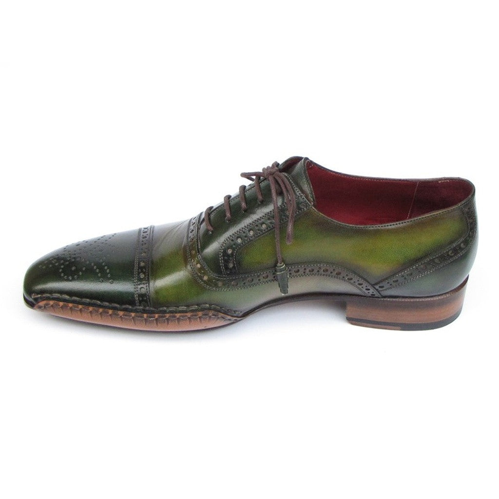 Paul Parkman Men's Side Handsewn Captoe Oxfords Green (ID#5032-GREEN)