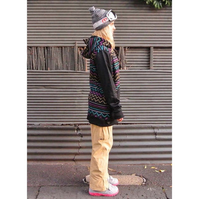 OOTZ UNISEX ZIP THROUGH TALL HOODIE IN ELECTRIC AZTEC PRINT