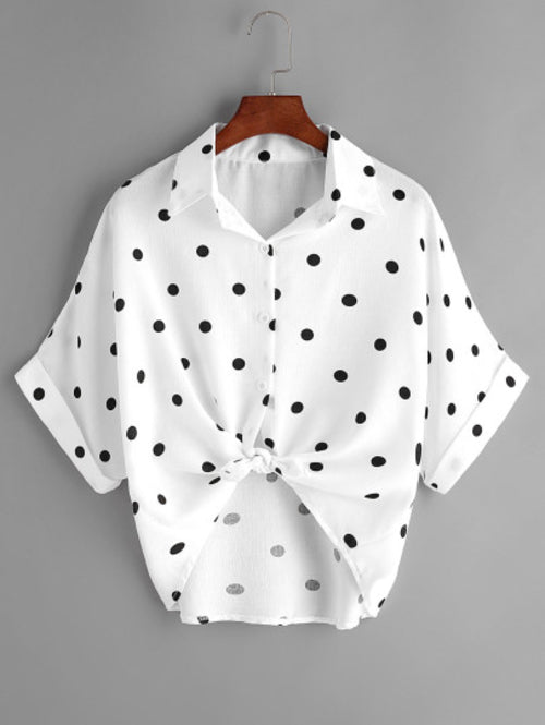 Textured Dots Knot Front Cuffed Blouse