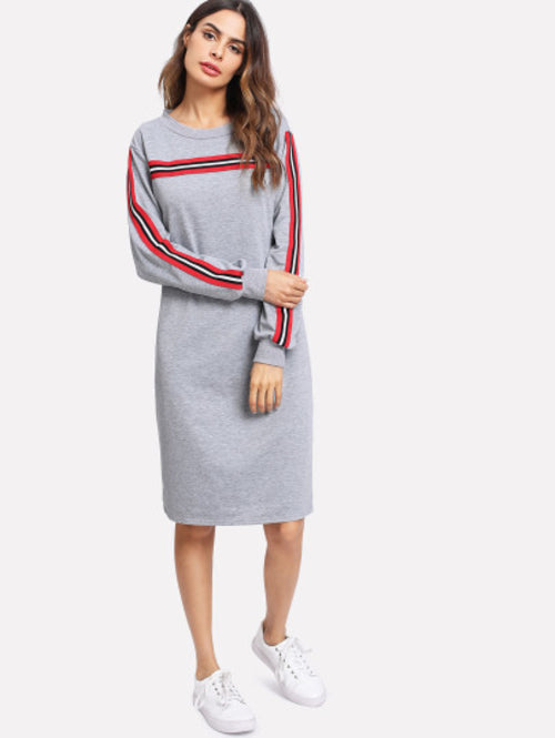 Stripe Contrast Sleeve Sweatshirt Dress