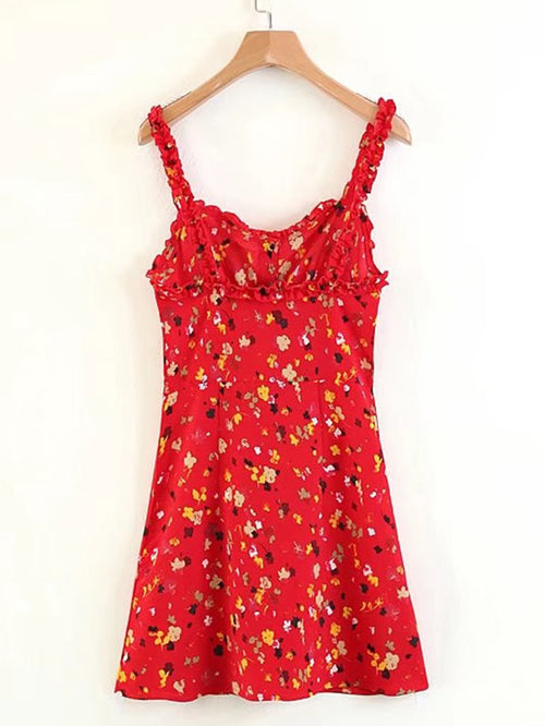 Frill Trim Calico Print Cami Dress