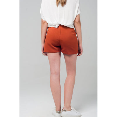 High waist orange shorts