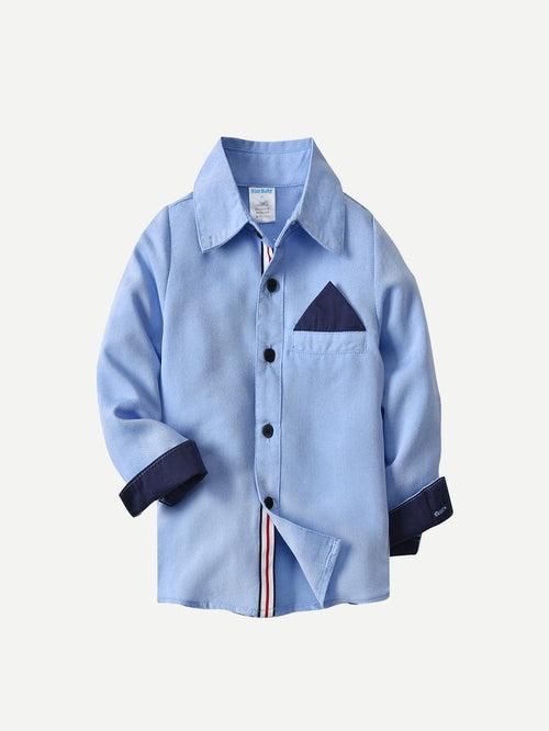 Toddler Boys Contrast Panel Shirt With Jeans