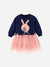 Toddler Girls Mesh Hem Rabbit Patched Dress