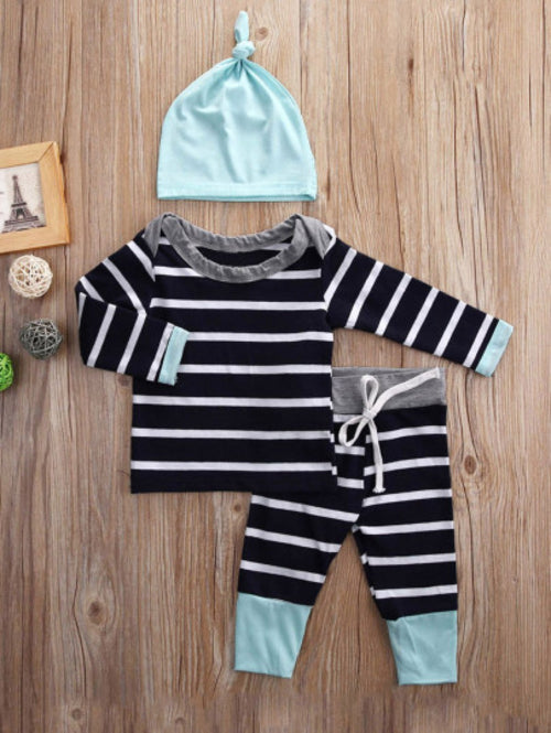Toddler Boys Baby Striped Tee & Pants Set With Hat