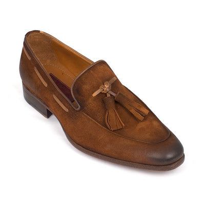 Paul Parkman Men's Tassel Loafer Brown Antique Suede Shoes (ID#TAB32FG)