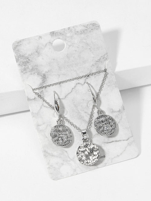 Textured Disc Necklace & Drop Earrings