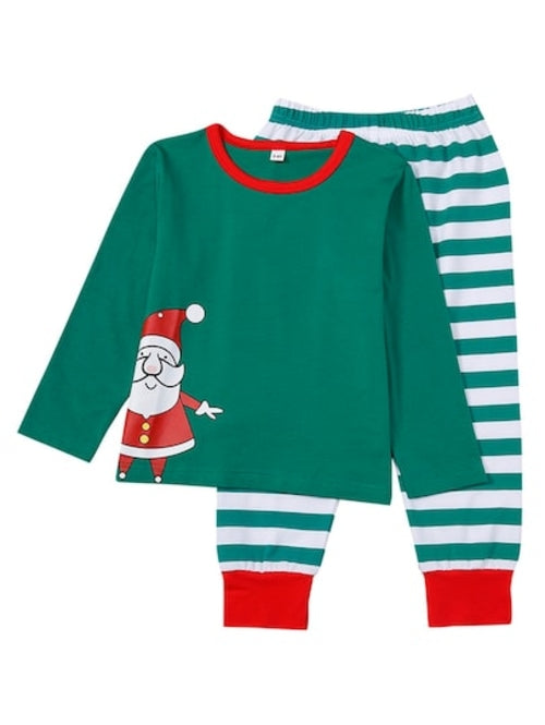 Christmas Men Santa Print Striped Pajama Set