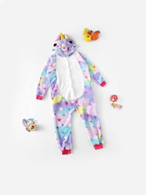 Christmas Girls Allover Stars Plush Unicorn Onesie