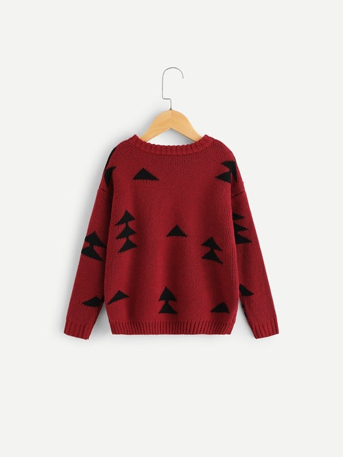 Toddlers Girls Drop Shoulder Christmas Tree Print