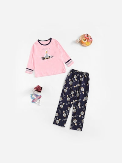 Christmas Kids Duck & Letter Print Pajama Set