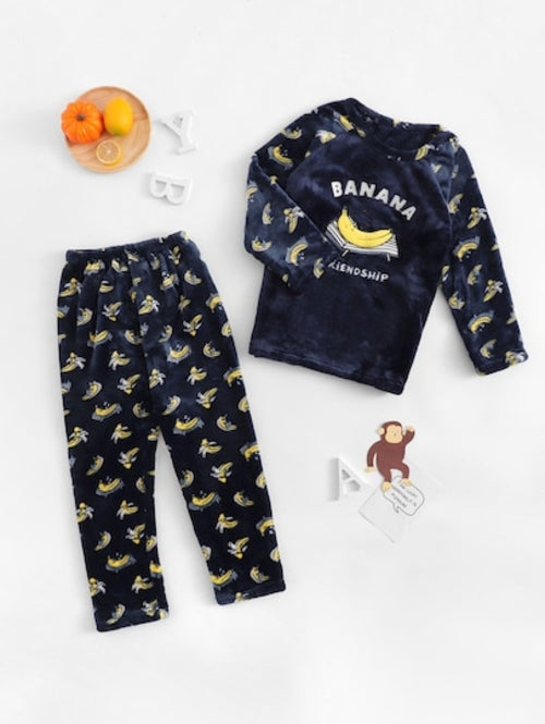 Christmas Kids Banana Print Plush Pajama Set