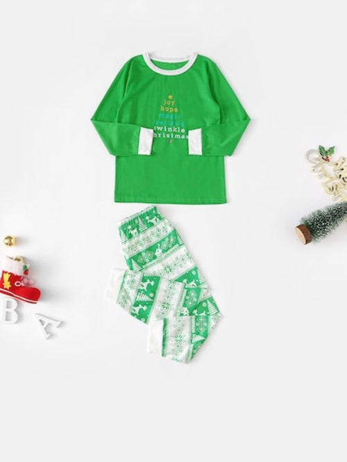 Christmas Kids Deer & Letter Print Pajama Set