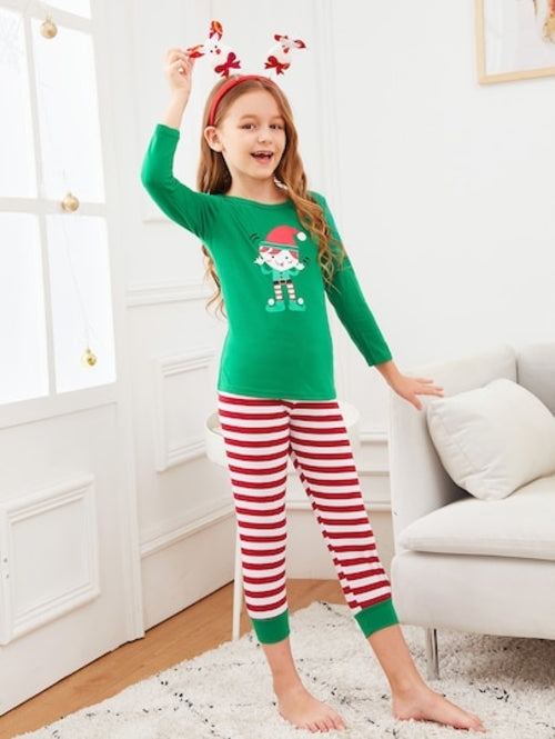 Christmas Kids Cartoon Print Striped Pajama Set