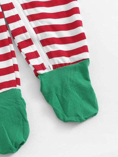 Christmas Baby Zip Front Striped Jumpsuit