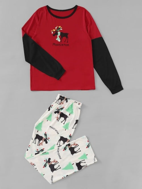 Christmas Men Deer Print Colorblock Pajama Set