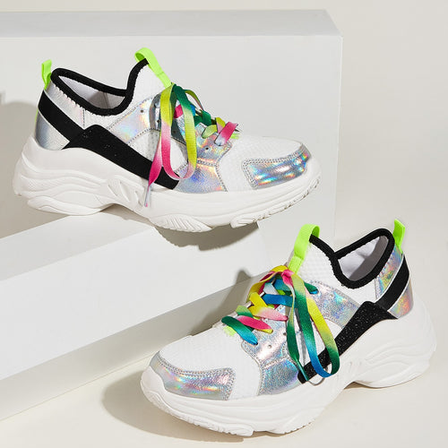 Iridescence Lace-up Front Sneakers