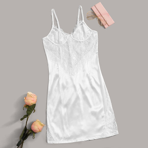 Floral Lace Zip Back Satin Slips