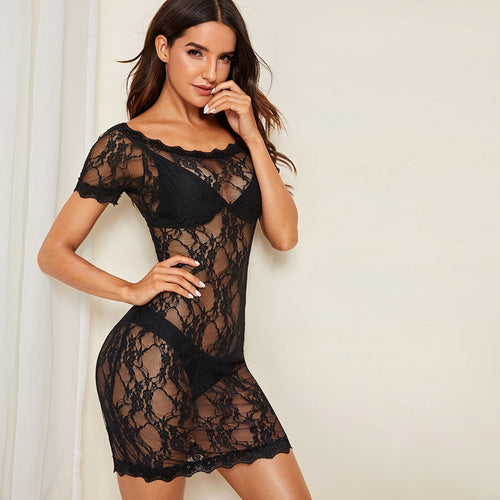 Floral Lace Sheer Dress With Thong