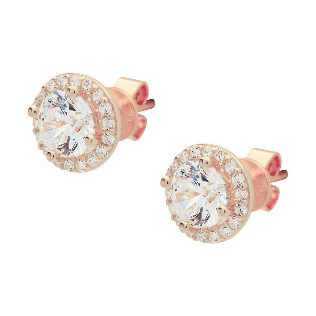 Micro Pave CZ Heart Stud Earrings in Rose Gold Plated Silver, 7mm