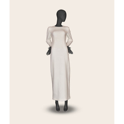 Milk long woolen dress