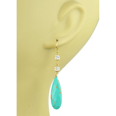 White Topaz With Turquoise Drop Earrings