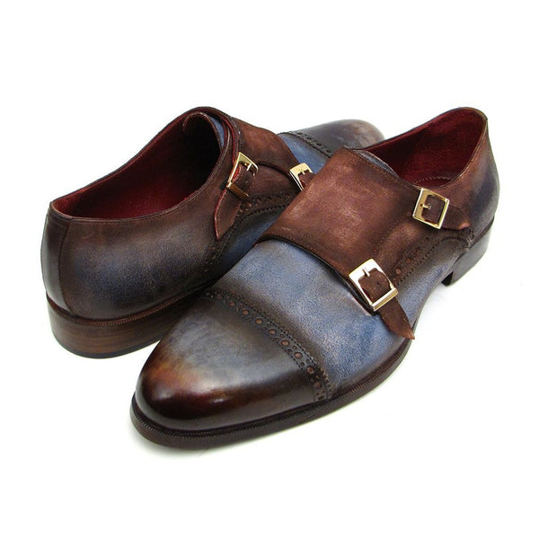 Paul Parkman Men's Captoe Double Monkstrap Antique Blue & Brown Suede (ID#045AN14)