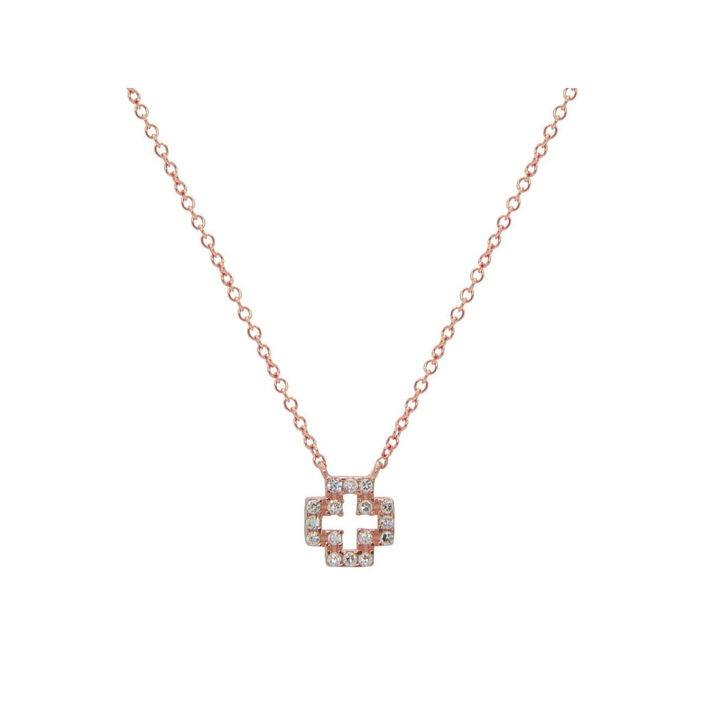 Mini Cubic Zirconia Open Cross Necklace in Rose Gold Plated Sterling Silver