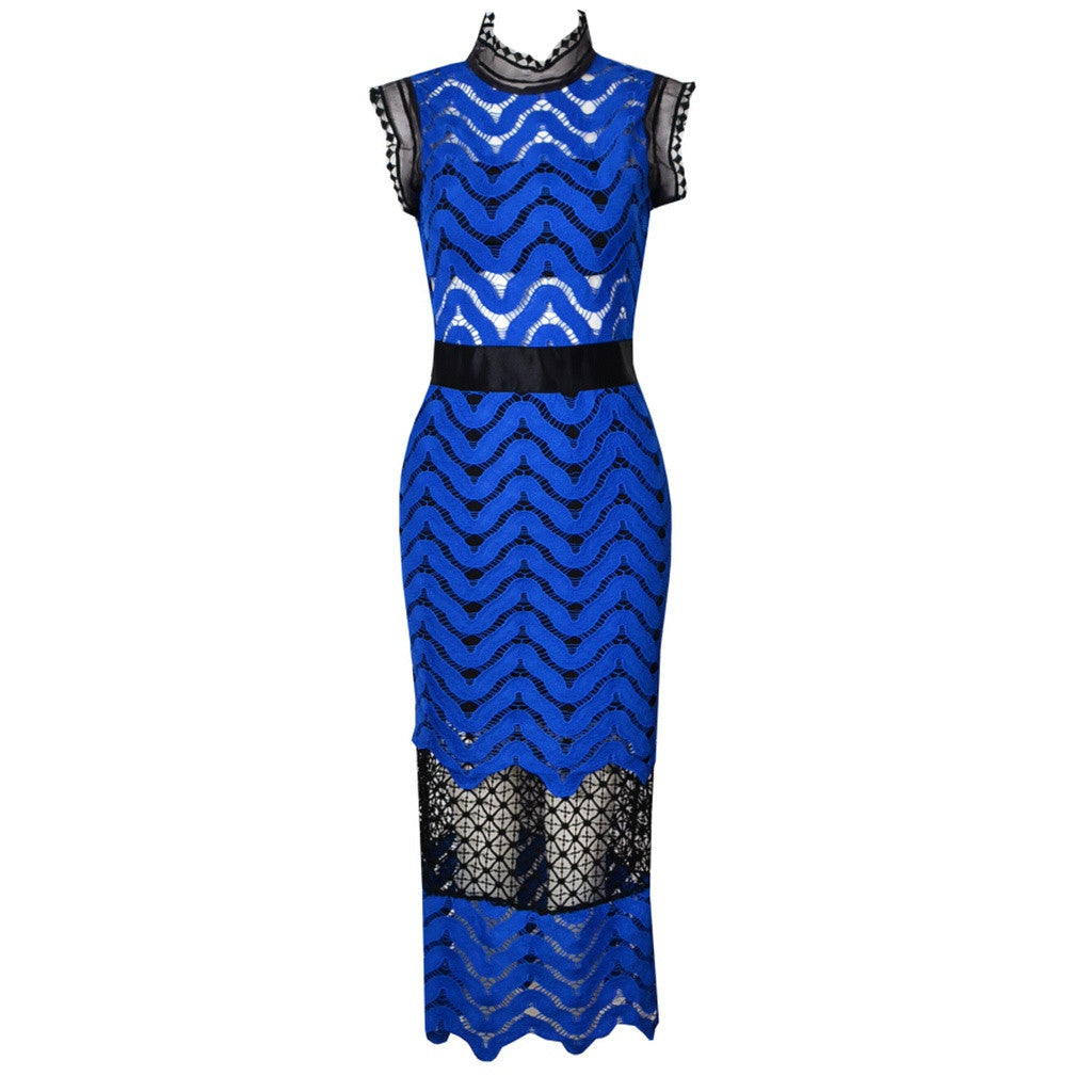 Blue High Collar Day Dress