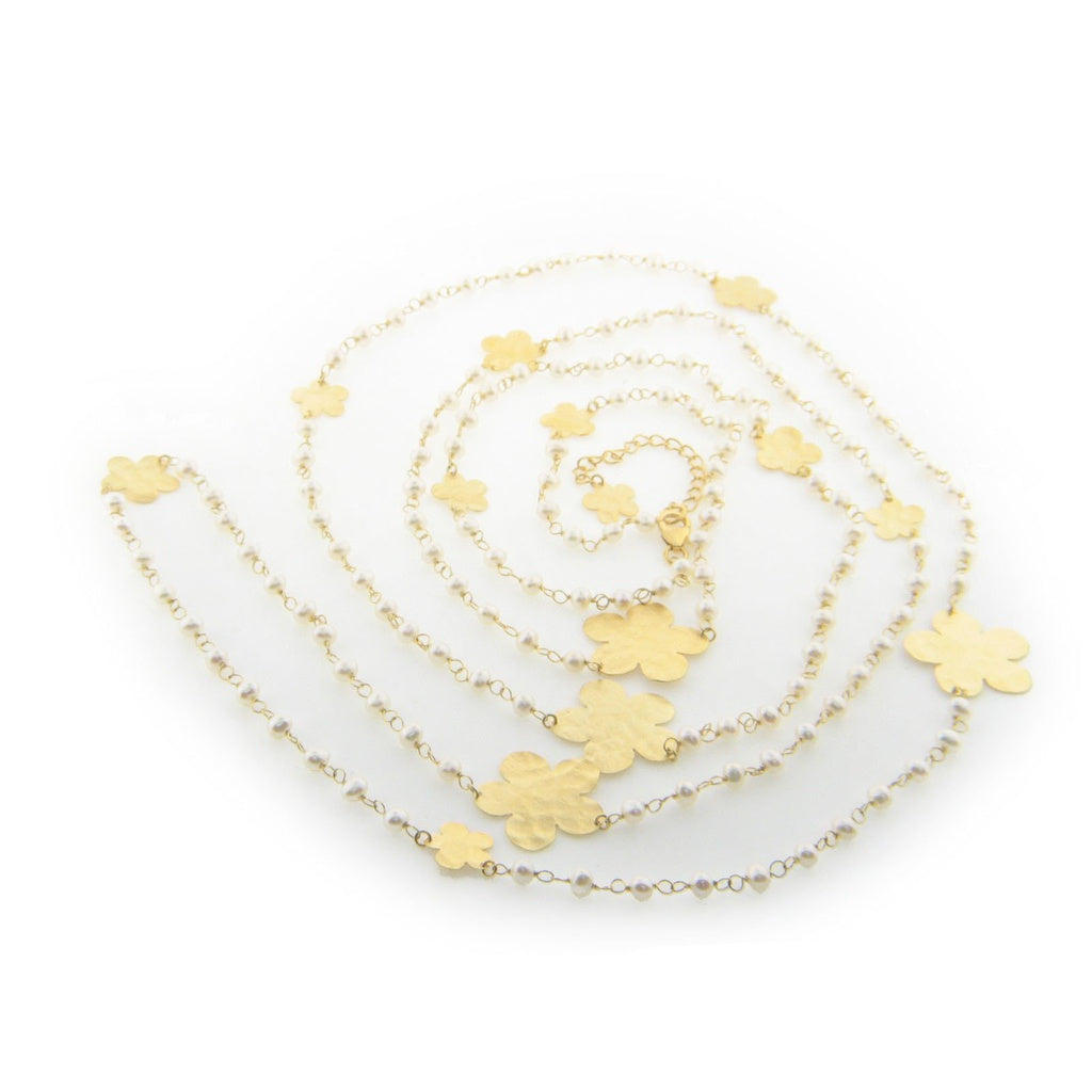 "Hammered Golden Flowers and Freshwater Cultured Pearls Necklace, 62"" Chain"
