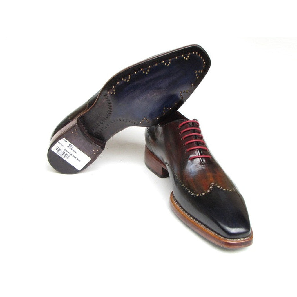 Paul Parkman Men's Wingtip Oxford Goodyear Welted Navy Red Black (ID#081-MIX)