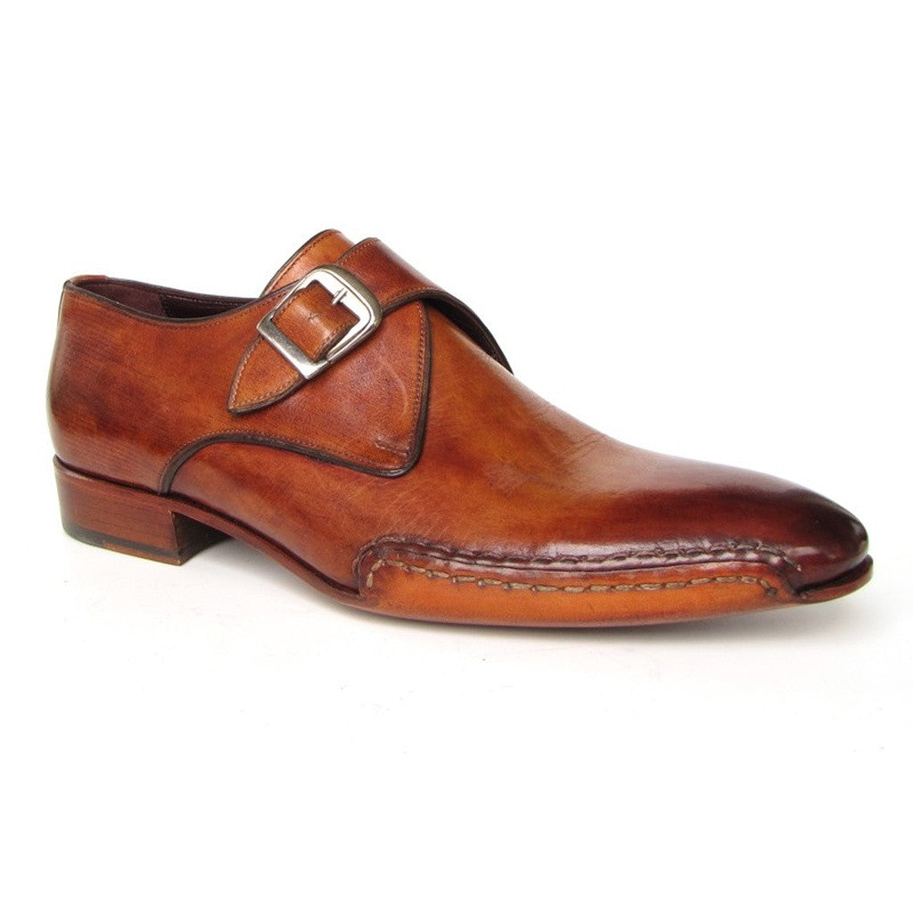 Paul Parkman Men's Monkstrap Shoes Side Handsewn Twisted Leather Sole Tobacco (ID#24Y56)