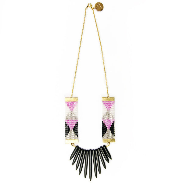 Adorn Necklace (Pink, black and white with black spikes)