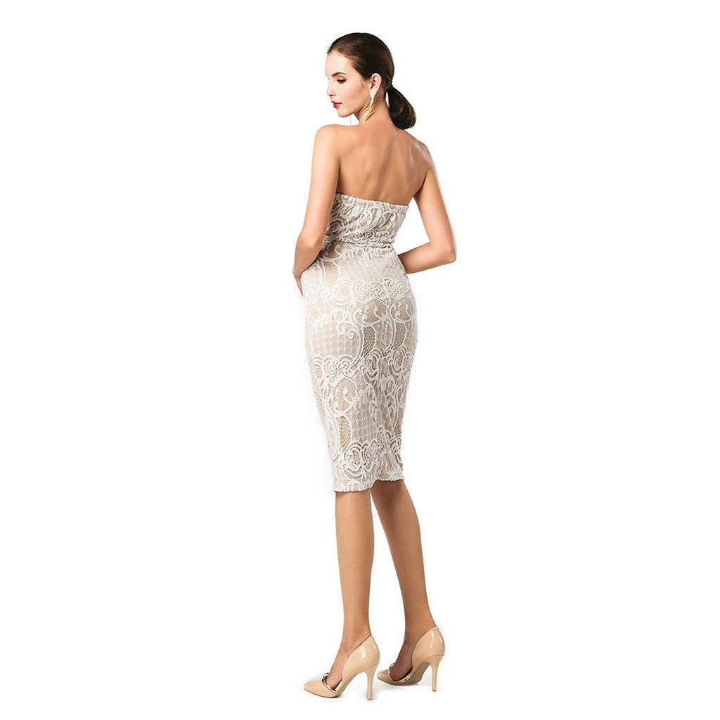 Strapless Beige Cocktail Dress