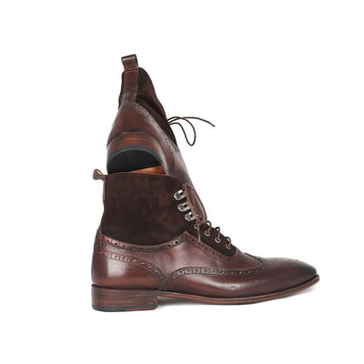 Paul Parkman Men's Wingtip Boots Brown Suede & Calfskin (ID#991-BRW)