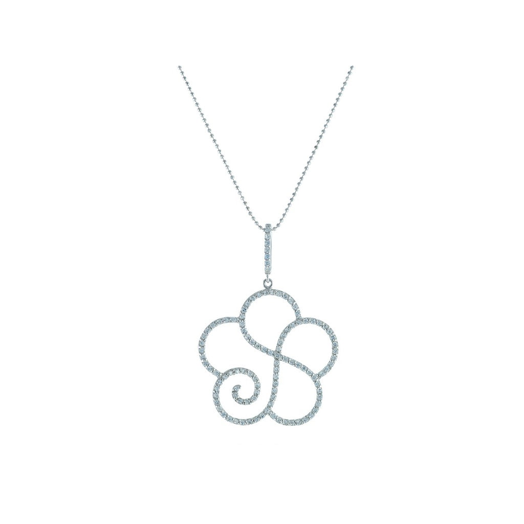 Platinum Plated Sterling Silver Twisted Cubic Zirconia CZ Flower Pendant Necklace, 16""