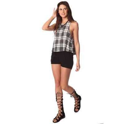 Black mono check smock top