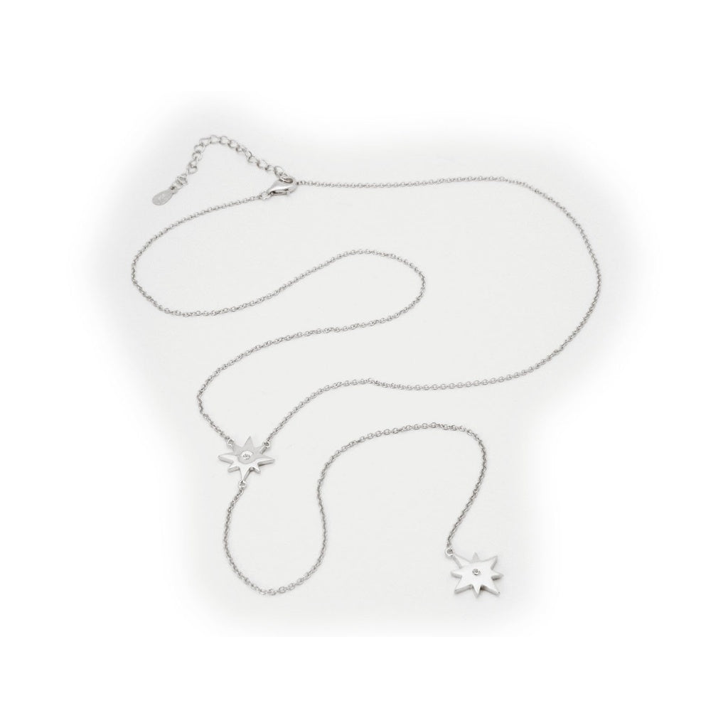"Starburst Pendants Y Lariat Necklace in Sterling Silver, 32"" + 2"""