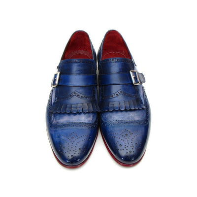 Paul Parkman Kiltie Monkstrap Shoes Dual Tone Blue Leather (ID#12BL78)
