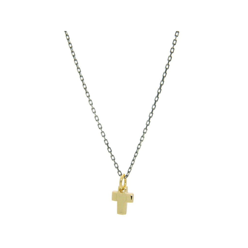 "Mini Golden Cross Pendnant Necklace with Gunmetal Black Chain in Sterling Silver, 16"" + 2"""