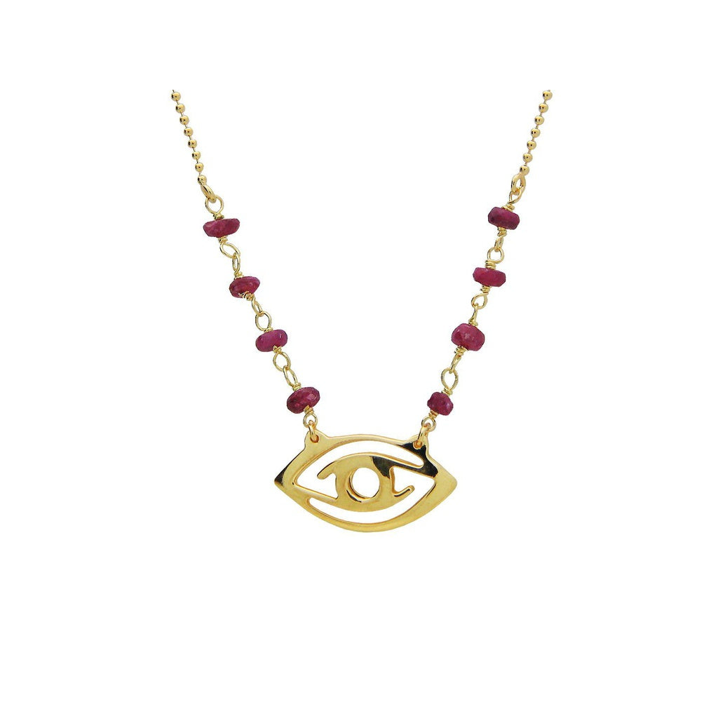 "Golden Evil Eye Pendant Necklace with Red Ru  Stones, 16""+ 2"""