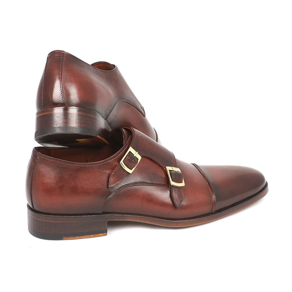 Paul Parkman Men's Cap-Toe Double Monkstraps Brown (ID#0457-BRW)