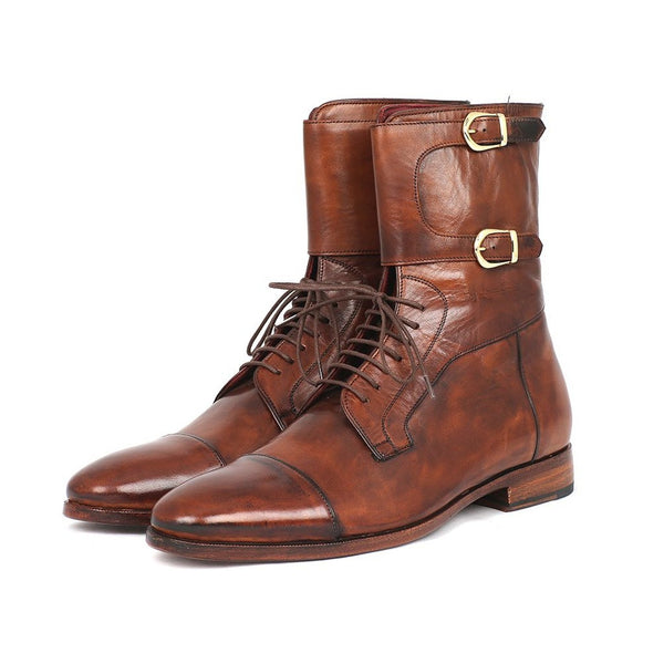 Paul Parkman Men's High Boots Brown Calfskin (ID#F554-BRW)