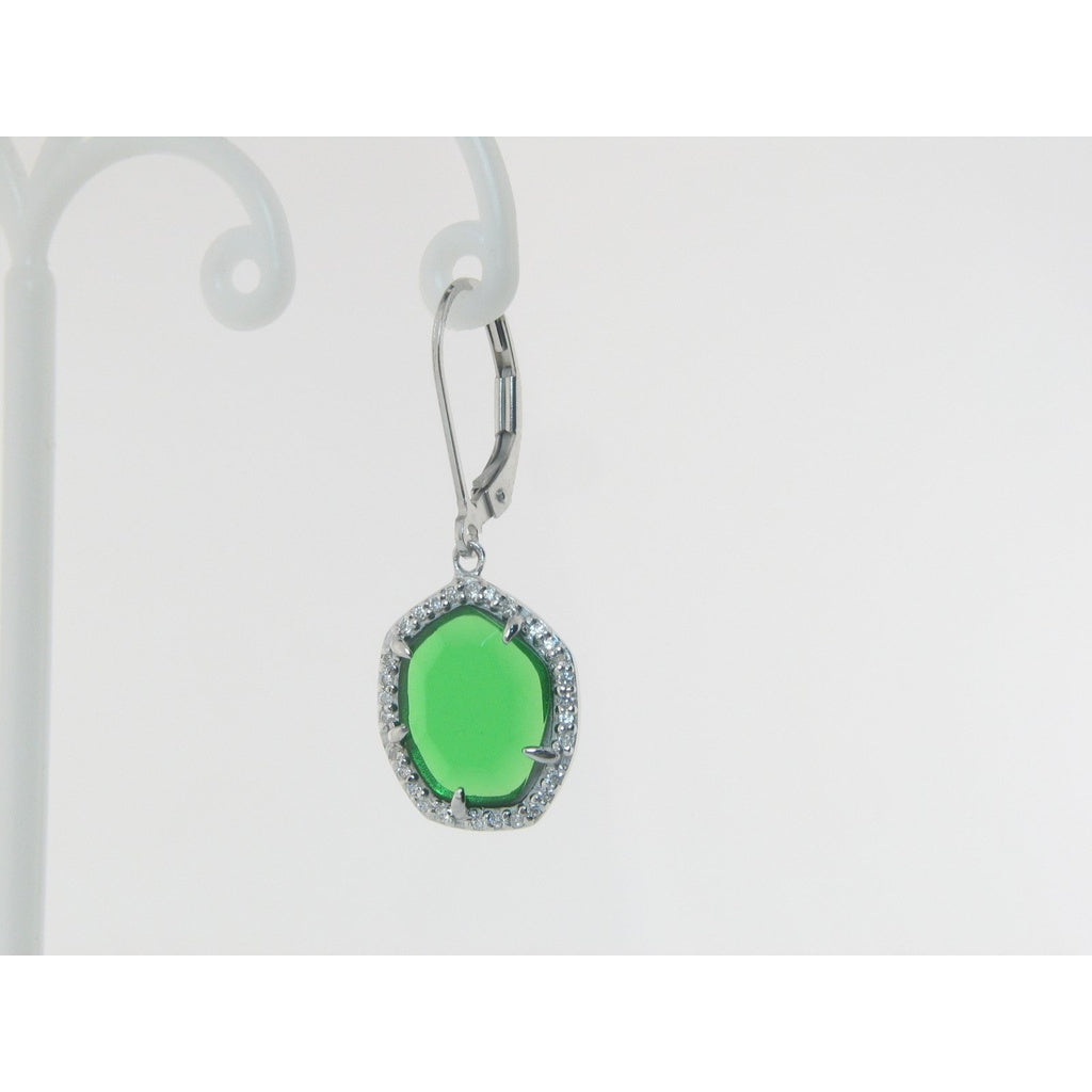 Sparkling Green CZ Leverback Earrings in Sterling SIlver