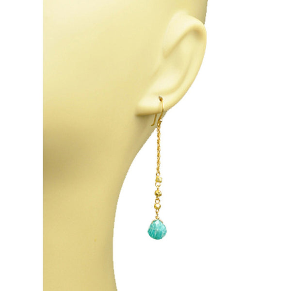 Amazonite Linear Drop Earrings