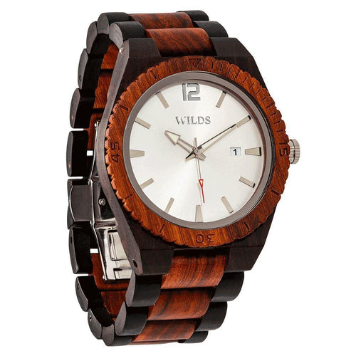 Men's Custom Engrave Ebony & Rose Wooden Watch - Personalize Your Watch